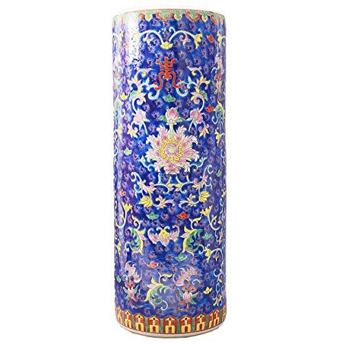 tea4chill Schirmständer/Regenschirmständer/Schirmhalter/Ständer 56cm aus Keramik in blau