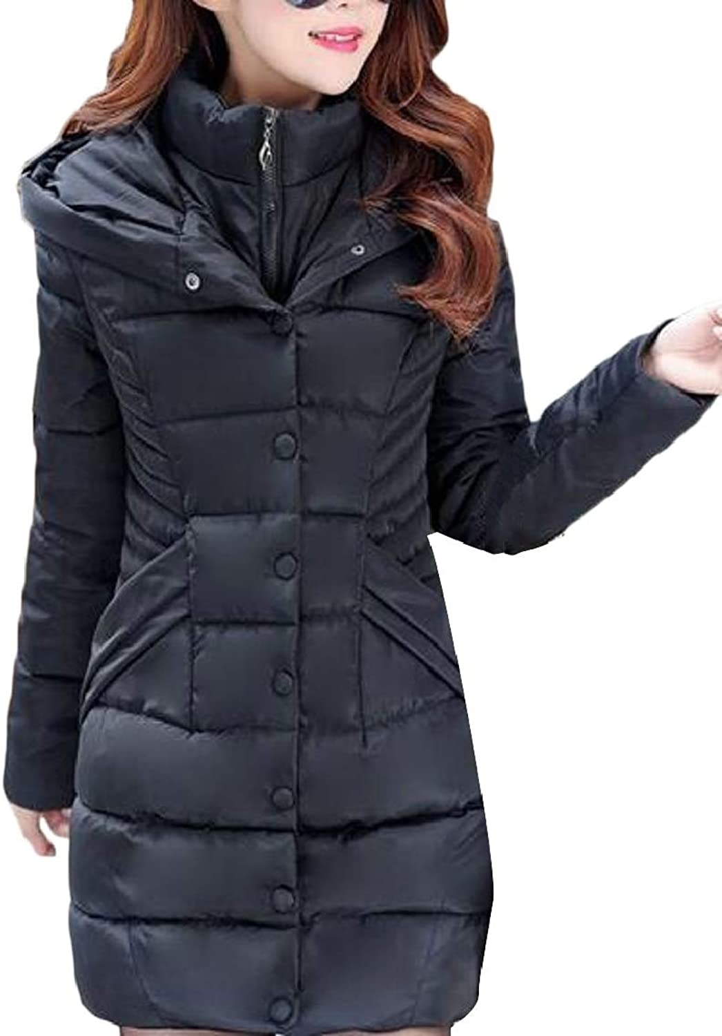 QDCACA Women Winter Mid Long Solid color Hooded Fake Two Pieces Down Jacket Coat