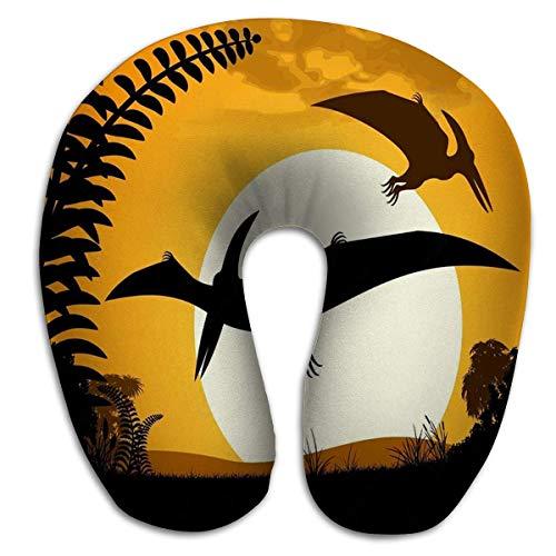 Corsa collo/testa rotonda a forma di U.Stelle di tramonto della siluetta dei pterodattili del pterodattilo del dinosauro del cuscino