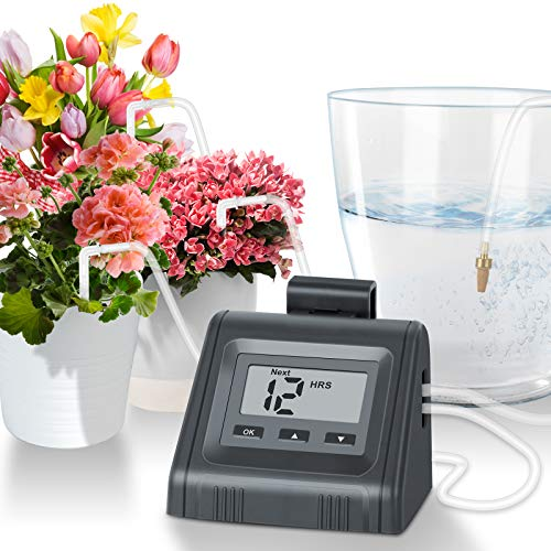 Automatic Watering System for Potted Plants, Micro DIY Self Drip Irrigation Kit with Programmable Water Pump Timer, Large Angled Display, Easy to Read, Ideal for Indoor Greenhouse Plants and Flowers