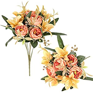 Luyue 2 Pack Artificial Flowers Arrangements Vintage Peony Lily Bouquets Faux Floral Decoration for Home Office Party Cemetery Decor-Vintage Champagne