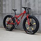 Bicicleta De Montaña Cuadro 26', 21/24/27 Velocidades Bicicleta MTB Bikes De Fat Tire para Adultos, Marco De Acero De Alto Carbono Doble Suspensión Completa Doble Freno De Disco,A,27'