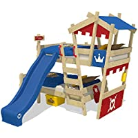 WICKEY Litera CrAzY Castle Cama infantil doble 90x200 Cama alta con tobogán, escalera, techo y somier, rojo-azul + tobogán azul