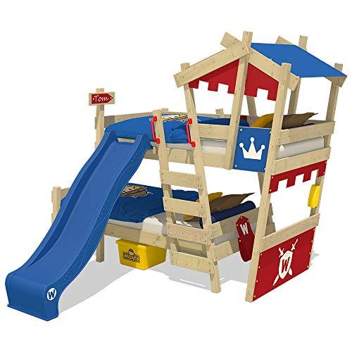 Wickey CrAzY Castle stapelbed, dubbel kinderbed, 90 x 200, hoogslaper met glijbaan, trap, dak en lattenbodem, rood-blauw + blauwe glijbaan