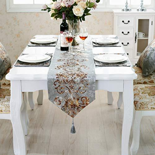 HUANGRONG Camino de mesa clásico de franela de estilo europeo para el hogar, con diseño moderno y lujoso, hecho a mano, color gris, tamaño: L)