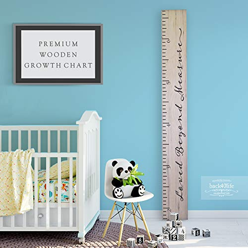 Back40Life Wooden Kids Growth Chart Ruler for Boys and Girls (Loved Beyond Measure) (Weathered Natural)