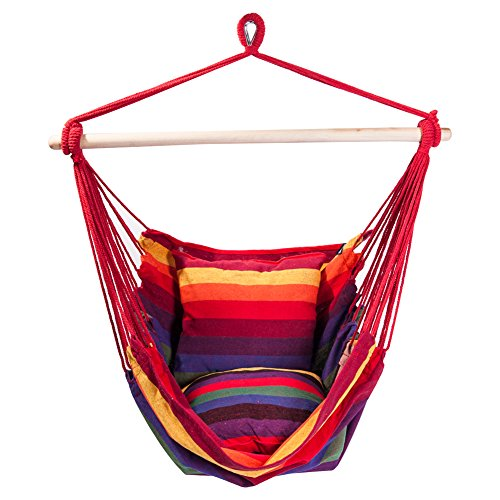 SUNMERIT Hanging Rope Hammock Chair Swing Seat for Indoor or Outdoor Spaces,275 lbs Capacity,2 Seat Cushions Included (Red & Yellow Stripes)