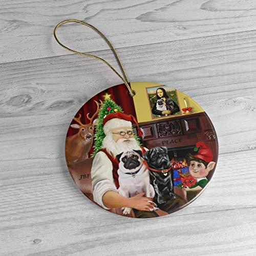 PotteLove Santa At Home with His Two Pugs Heirloom Ceramic Ornament,Custom with Any Name And Date Porcelain Ornament