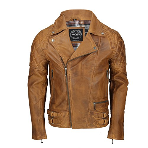 Xposed Chaqueta de motorista de piel auténtica suave vintage para hombre, color negro lavado, marrón antiguo, marrón óxido, con cremallera, elegante casual