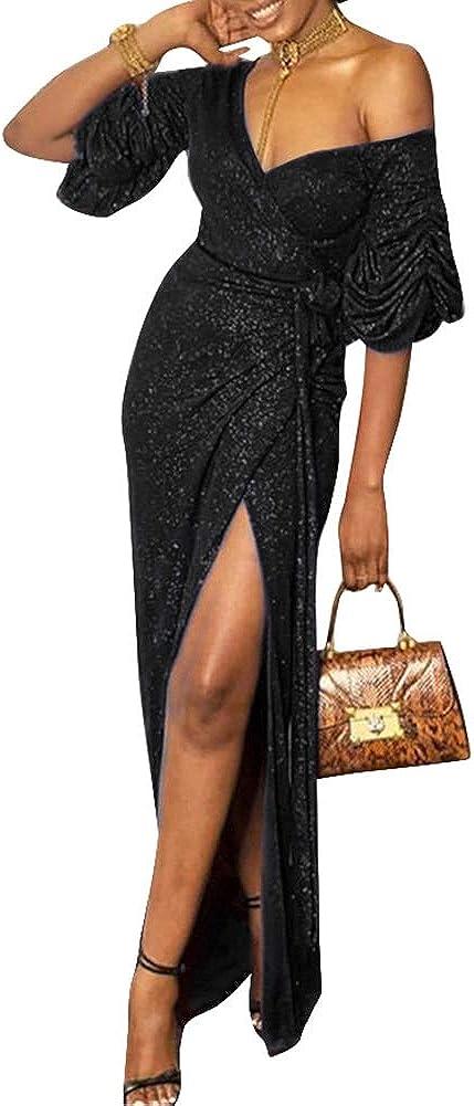 Remelon Women Long Sleeve Shiny Glitter Mesh Cut Out Bodycon Flowy Mermaid Party Maxi Long Dresses