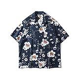 Camisa Hombres De Playa Hawaii - Flores Botones Manga Corta Protección Solar Bolsillo Delantero Blusa Funky Casual Vintage Bohemio Slim Fit Camisa Regular Fit, F, XL