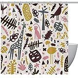 HEOEH Niedlicher Flamingo Affe Schlange Giraffe Katze Wald Muster Stoff Duschvorhang Wasserdicht Badezimmer Polyester Duschvorhang für Badewanne Dusche 167,6 x 182,9 cm