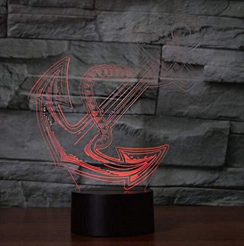 Nachtlicht Wandleuchte Led Lampe Neuheit Anker Modellierung Usb Led Nightlight 7 Farben Ändern 3D Tischlampe Kinder Geschenke Schlafzimmer Nacht Schlaf Licht Ing Home Decor für Küche Schlafzimmer Woh