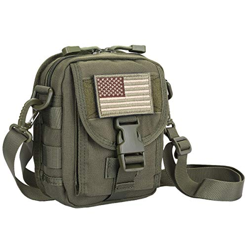 Sportmusies Tactical Molle Crossbody Bag Pouch, Outdoor Gadget Messenger Bag with Adjustable Strap Army Green