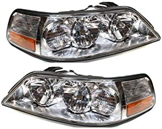 Headlight Compatible with 2005-2011 Lincoln Town Car Pair Halogen with Bulbs Clear Lens