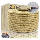 Cable textil de Zohar, 2 núcleos, 0,75 mm², 10 m, vintage, cuerda de yute retro, cable de instalación, cobre, cable eléctrico con pinzas de conexión, lámpara DIY