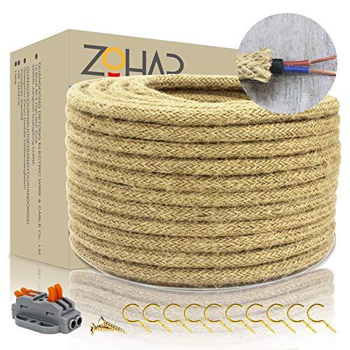 Cable textil de Zohar, 2 núcleos, 0,75 mm², 10 m, vintage, cuerda...