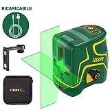 Livella laser 30m, USB Ricarica, Linea Laser Verde a Croce TECCPO, 120° Grandangolo, Autolivellante e...