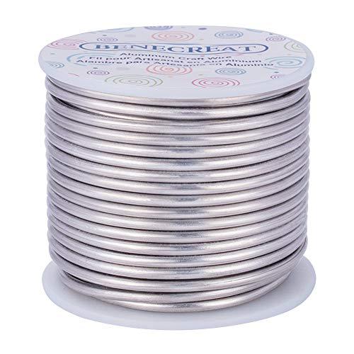 BENECREAT 17m 3mm Alambre de Aluminio Alambre Manualidades Hilo de Aluminio Color Primario Antióxido y sin Decoloración Alambre para Fabricación Bisutería y Artesanía Calibre 9