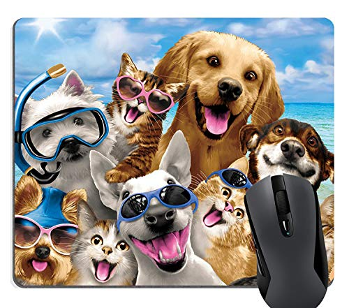 Knseva Dogs and Cats Beach Party Funny Selfie Gaming Mouse Pad Cute Pets Family Mouse Pads for Computers Laptop