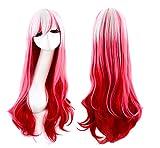 Pelucas Mujer,Deesos Pelucas para mujer peluca de anime pelucas de disfraces traje de cosplay para mujer largo y rizado peluca roja