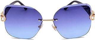 DovSnnx - DovSnnx Gafas De Sol Unisex para Hombres Y Mujers Polarizadas Protección 100% Uv400 Clásico Vintage Moda Sunglasses Montura De Oro Engastado con Diamantes con Lentes Azules