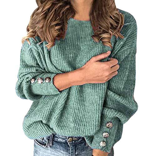 Tabimono Femmes Couleur Unie Poids Léger Pull Boutons Décor à Manches Longues Col Rond Léger Pull Automne Hiver Tricoté Blouse Hauts Décontracté Ample Style Mince T-Shirt
