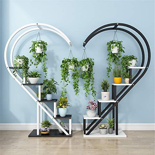 Aihifly Multifunktional Schmiedeeisen-Pflanzenstandplatz Reizende halbe Herz-Form-Metallgarten-Blumen-Inszenierungsbetriebsstand-Anzeigen-Regal (Farbe : White-Black, Größe : 30 * 55 * 146cm)