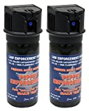 Pepper Enforcement 2-Pack PE510M-FT Splatter Stream Pepper Spray - 2 oz. Canister - Police Strength 10% OC Formula - Emergency Self Defense Protection Non Lethal Weapon