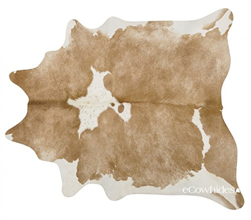 ecowhides Palomino and White Brazilian Cowhide Area Rug, Cowskin Leather...