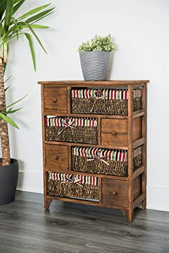 Cajonera grande de madera y mimbre, con cestas y cajones, estilo retro desgastado, color marrón, de alta calidad, vendedor del Reino Unido