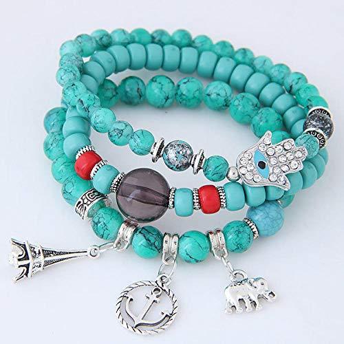Hundetasche armbanden voor vrouwen Boheemse etnische stijl meerlagige elastische kraal armband toren anker olifant wikkeling armband