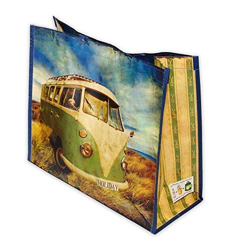 Wertpack 50x Permanent-Tragetaschen VW Bus, Einkaufstaschen, rPET, 450 + 190 x 380 mm