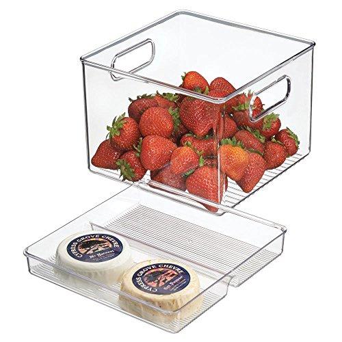 mDesign Caja organizadora transparente - Guardatodo para heladera - Contenedor en plástico resistente - Especial para conservar alimentos frescos - Sin BPA - Apto para queso, carnes y más