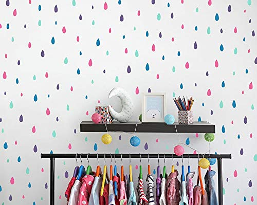 Unknow - Adhesivos de pared de vinilo para pared, diseño de gotas de lluvia, 4 colores, pegatinas de pared de lluvia, pegatinas de pared, pegatinas de pared para dormitorio de niños, pegatinas de guardería