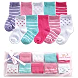 Luvable Friends girls:baby-boy's 10-Piece Baby Socks Gift Set, Blue, 0-9 Months, Pink