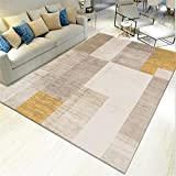 AU-SHTANG alfombras persas Alfombra Amarilla, Alfombra de Terciopelo de Cristal Suave...