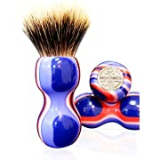 HAIRCUT AND SHAVE CO. Proven Synthetic Shaving Brush - 100% Synthetic Materials - 24mm Extra Dense Knot And 54mm Loft - Fast Drying Pre-Shave Brush perfect for home and travel (faux ivory)