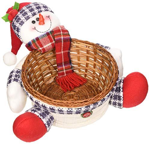 WeRChristmas - Cestino natalizio, centrotavola/soprammobile, con pupazzo di neve, multifunzionale, dimensioni: 18 cm