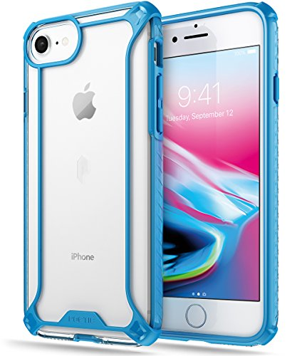Poetic Affinity Series Designed for iPhone SE 2020 (2nd Gen), iPhone 8, iPhone 7 Case, Rugged Lightweight Military Grade Hybrid Protective Bumper Cover, Blue/Clear