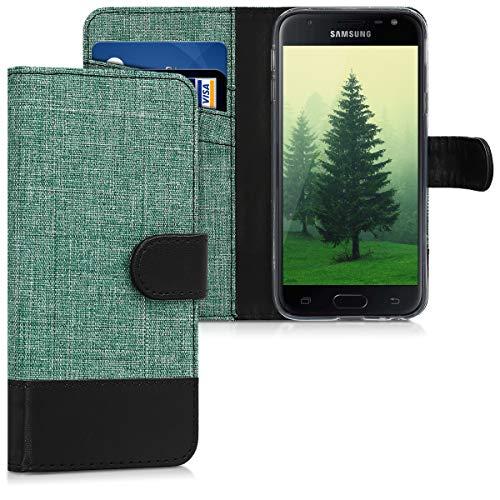 kwmobile Wallet Hülle kompatibel mit Samsung Galaxy J3 (2017) DUOS - Hülle Kunstleder mit Kartenfächern Stand in Grün Schwarz