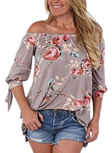 AlvaQ Women Chiffon Summer 3 4 Sleeve Tunic Sexy Casual Floral Party Tops Juniors T Shirt Plus Size Khaki 2XL