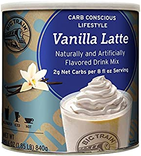 Big Train Carb Conscious Blended Ice Coffee, Vanilla Latte, 1.85 Pound, Low Carb Powdered Instant Coffee Drink Mix, Serve Hot or Cold, Makes Blended Frappe Drinks