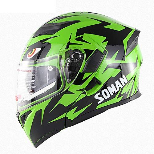 Casque De Motocross Double Objectif Moto Racing Full Face Casque Quatre Saisons Hommes Et Femmes Équitation Casque Visage Ouvert,Green,L