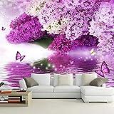 3D Fotomurales Papel Pintado Fotográfico Mariposa flor morada Fleece no-trenzado Salón Dormitorio Despacho Pasillo Decoración murales decoración de paredes moderna 400x280 cm