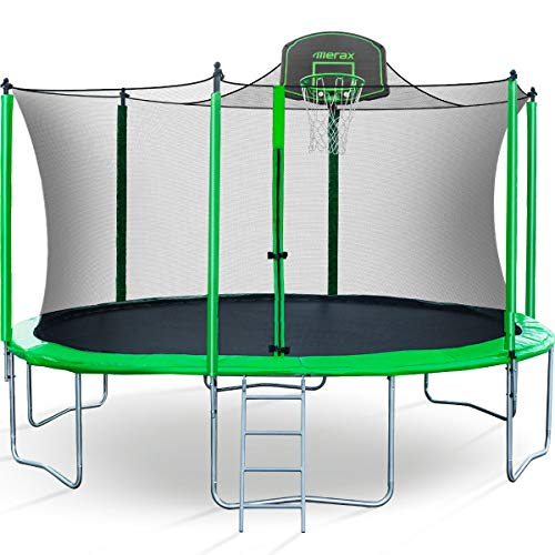 Merax 15 FT Trampoline with Safety Enclosure Net, Basketball...