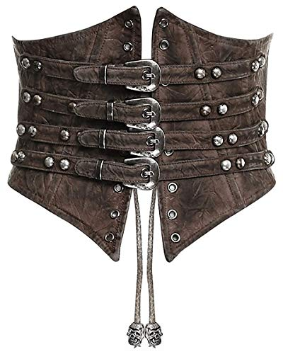 Punk Rave Steampunk Corset serre-taille marron gothique serre-taille ceinture ceinture simili cuir - Marron, XL-XXL: UK Womens Size 14-16