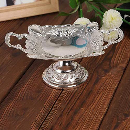 Bandeja de frutas creativa retro con plato de frutas secas, para decoración de sala de estar, mesa de frutas, cuencos de frutas (color: plata)