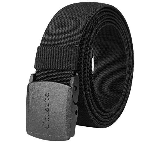 Drizzte 67inch Plus Size Belts Elastic Stretch Adjustable Dress Belt Plastic Buckle Black