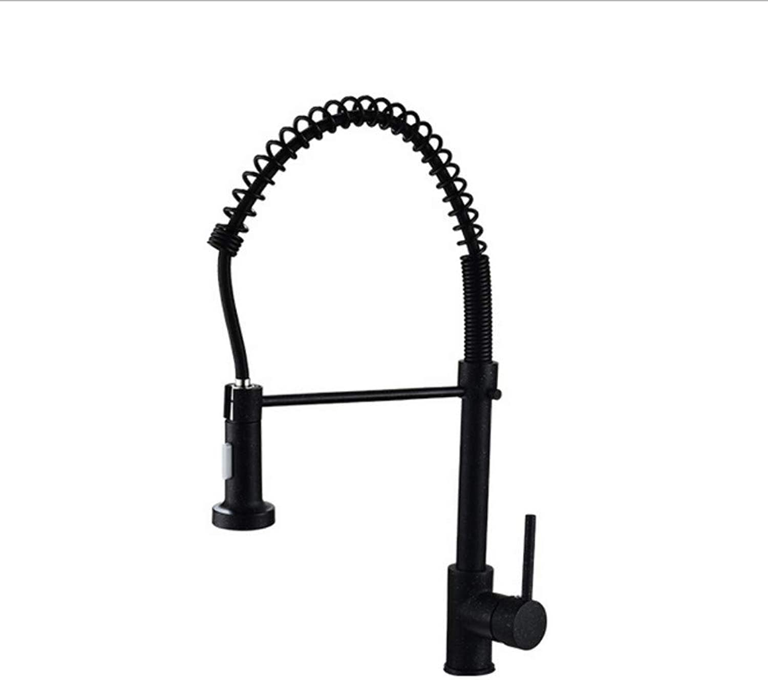 Xiujie Faucet Black Ancient Single Spring Faucet Copper Single Hole Pull Spring Faucet Hot and Cold redatable Kitchen Faucet